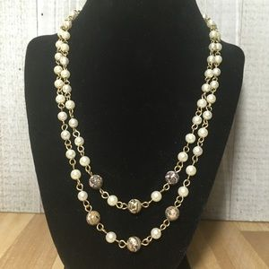 Vintage Faux Pearl Chain Beaded Necklace